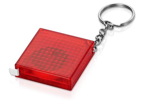 Брелок-рулетка из светоотражающего материала, 1 м., красный/серебристый 1м