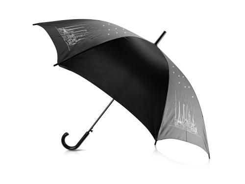 """Зонт-трость """"8 чудес света"""" со стразами, черный"""