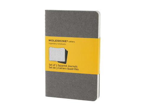Записная книжка Moleskine Cahier (в клетку, 3 шт.), Pocket (9х14см), серый
