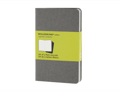 Записная книжка Moleskine Cahier (нелинованный, 3 шт.), Pocket (9х14см), серый