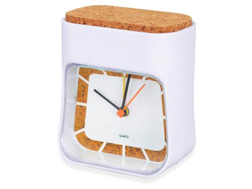 """Часы настольные """"Cork"""", белый/коричневый"""