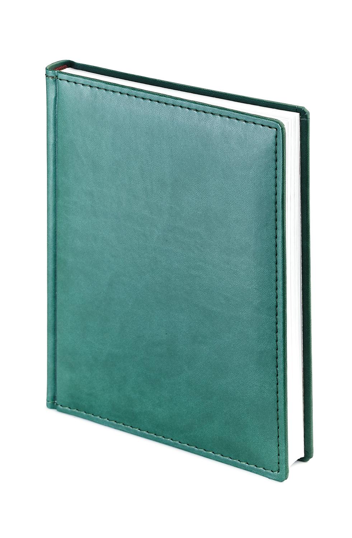 Ежедневник недатированный Velvet, А6+, зеленый, белый блок, без обреза, ляссе