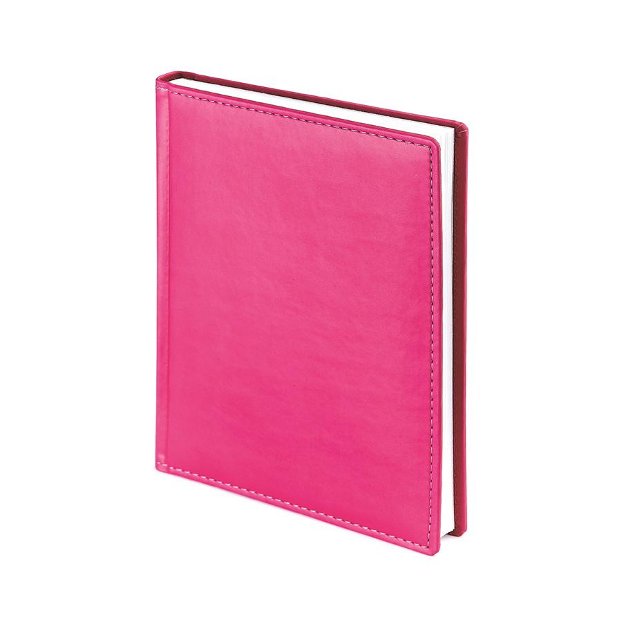 Ежедневник недатированный Velvet, А6+, фуксия, белый блок, без обреза, ляссе