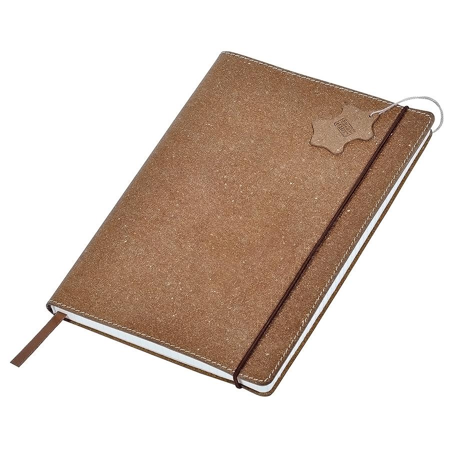 "Бизнес-блокнот А6  ""Indi""  в клетку, 160 стр,  коричневый, кожа"