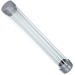 Футляр-тубус для одной ручки, прозрачный/серый, пластик, 15х2 см