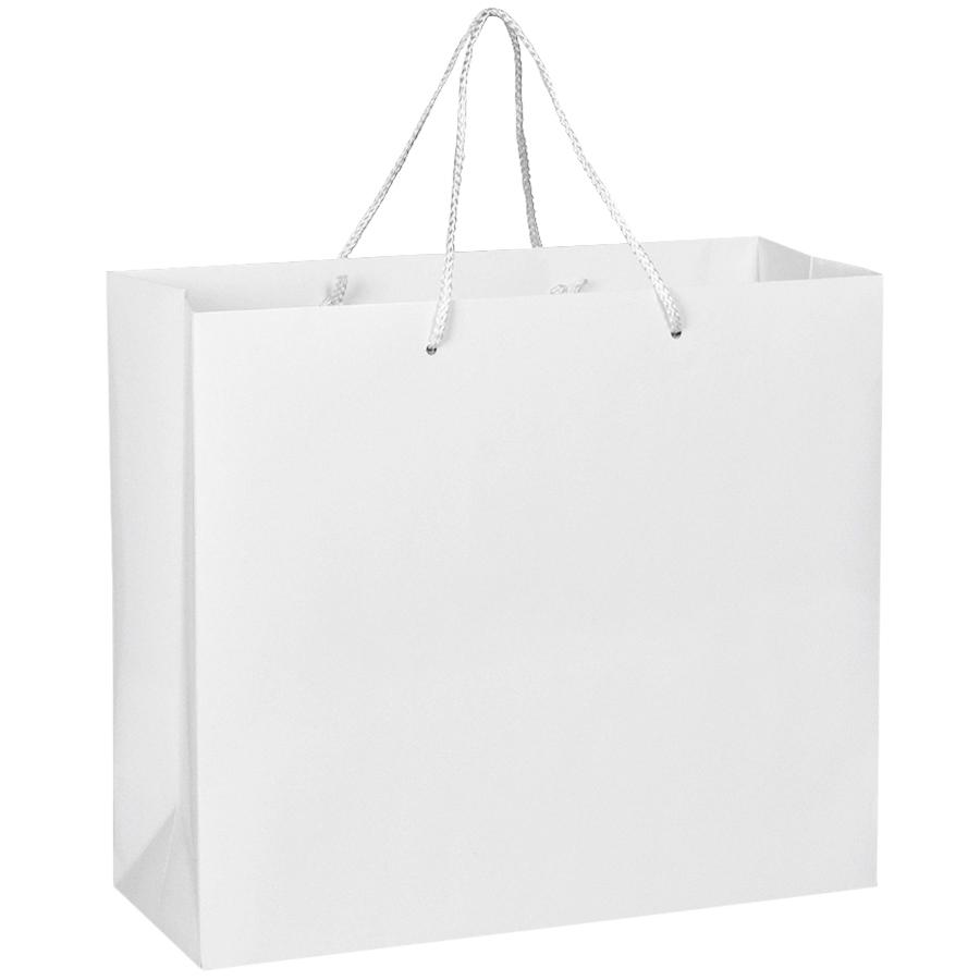Пакет подарочный с ручками,  белый, 40*35*14 см,  бумага