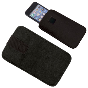 "Футляр  для мобильного телефона ""Felt"", черный, 8,5х14х0,6см, фетр"
