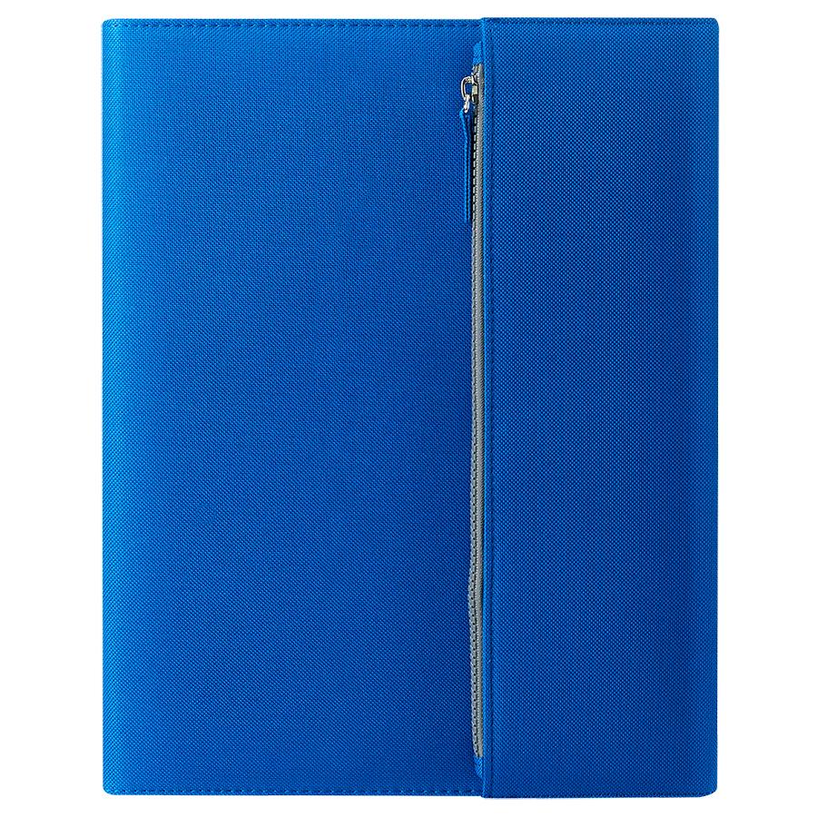 """Папка А4  """"PATRIX""""  с блокнотом и карманом  на молнии, синяя, микрофибра"""