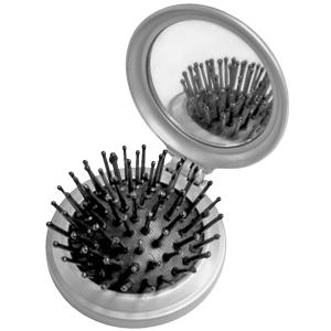 Расческа складная с зеркалом; серебристый; 6,7х7,2х0,8 см; пластик; тампопечать