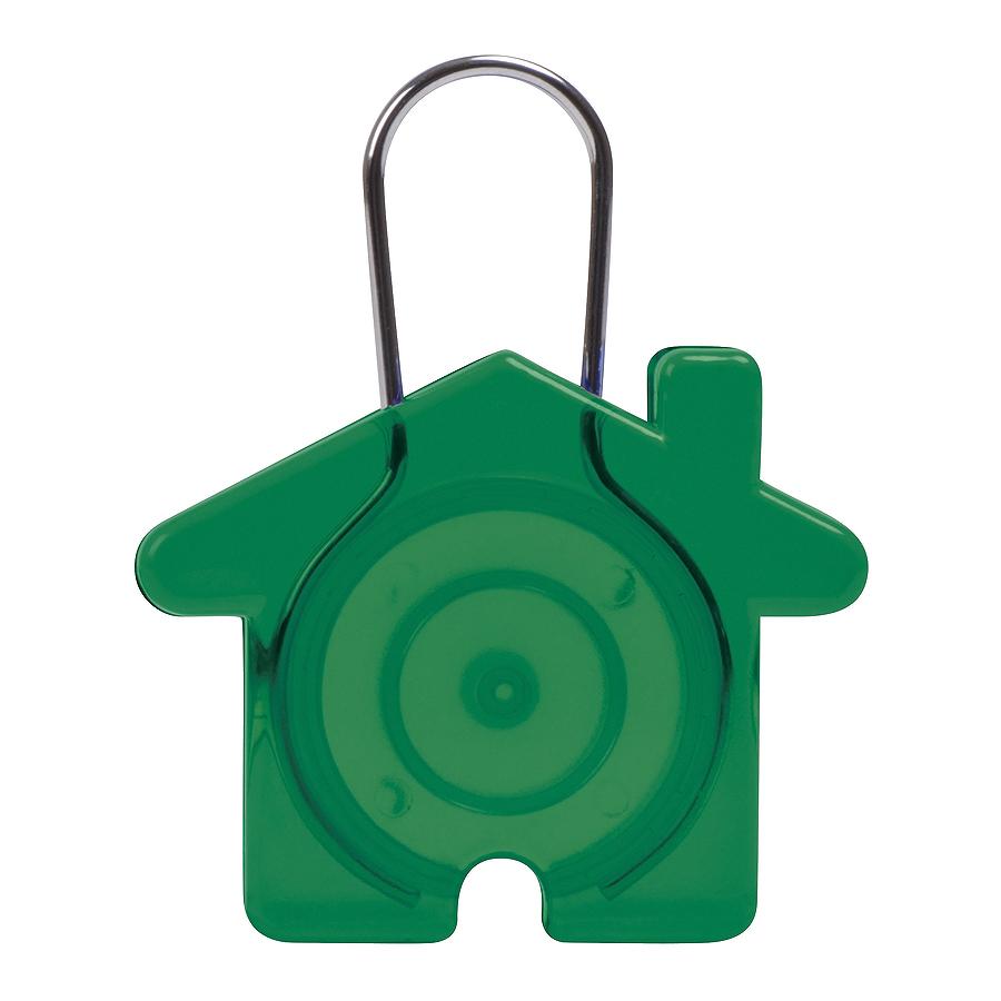 "Брелок ""Дом"", зеленый, 5,8х4,7х0,9см, пластик, металл"