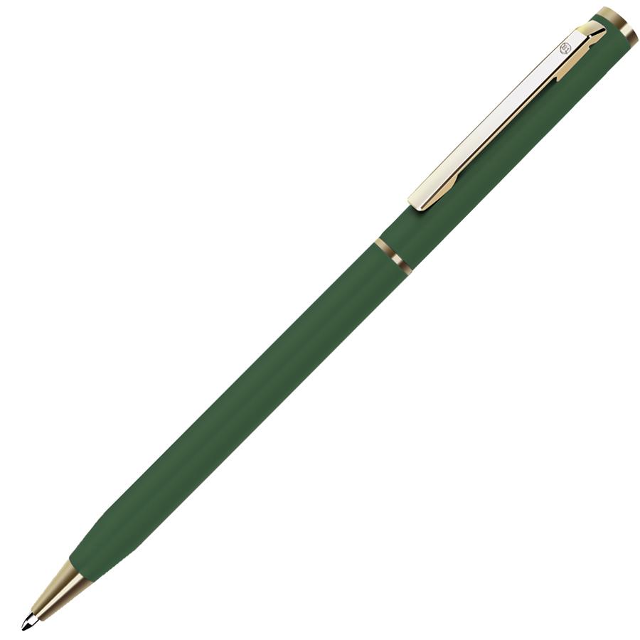 SLIM, ручка шариковая, зеленый/золотистый, металл