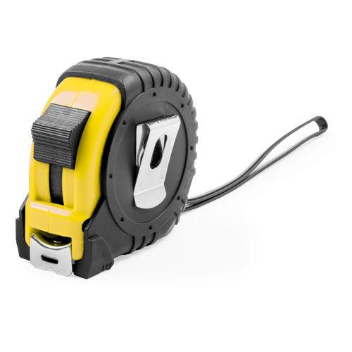 Рулетка пластиковая, 5 м.,желтая, 7*7*3,5 см, с металлическим клипом