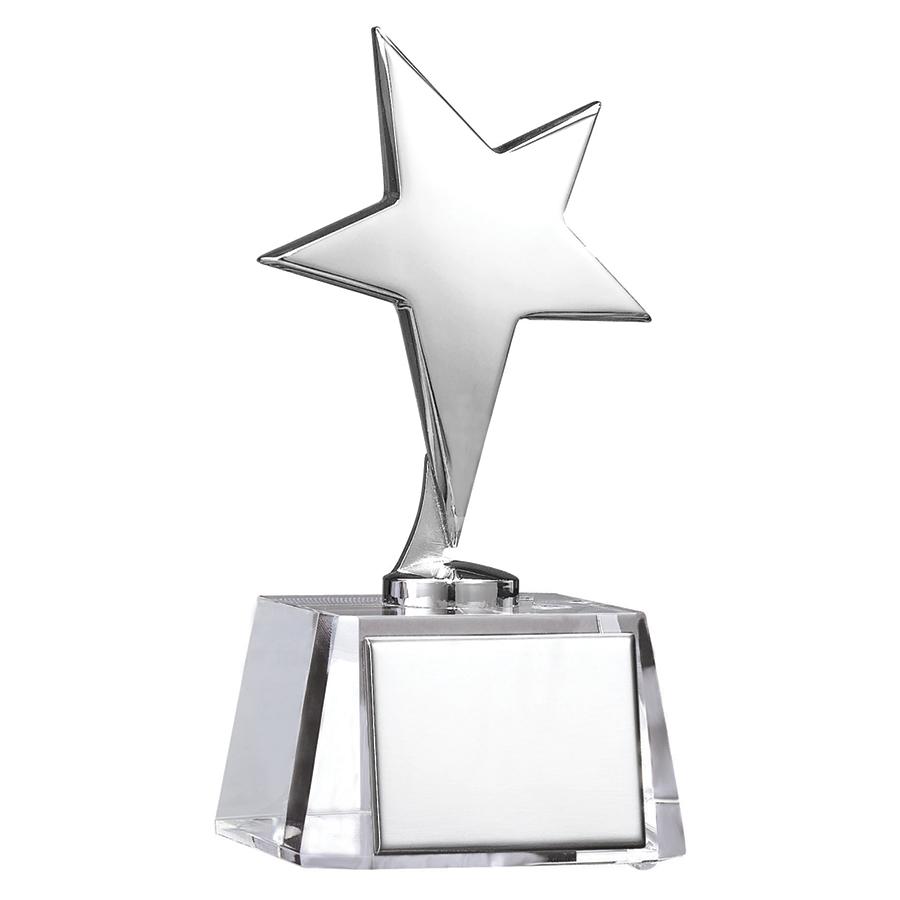 "Стела ""Звезда""; 7,7х7,6х15,6 см; стекло, металл; лазерная гравировка"