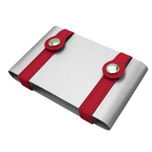 Визитница ; серебристый с красным; 10х6,5х2 см; металл; лазерная гравировка