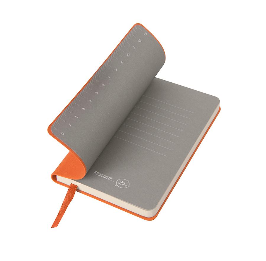 """Бизнес-блокнот """"Funky"""", 90*140 мм, оранжевый, серый форзац, мягкая обложка, в клетку"""