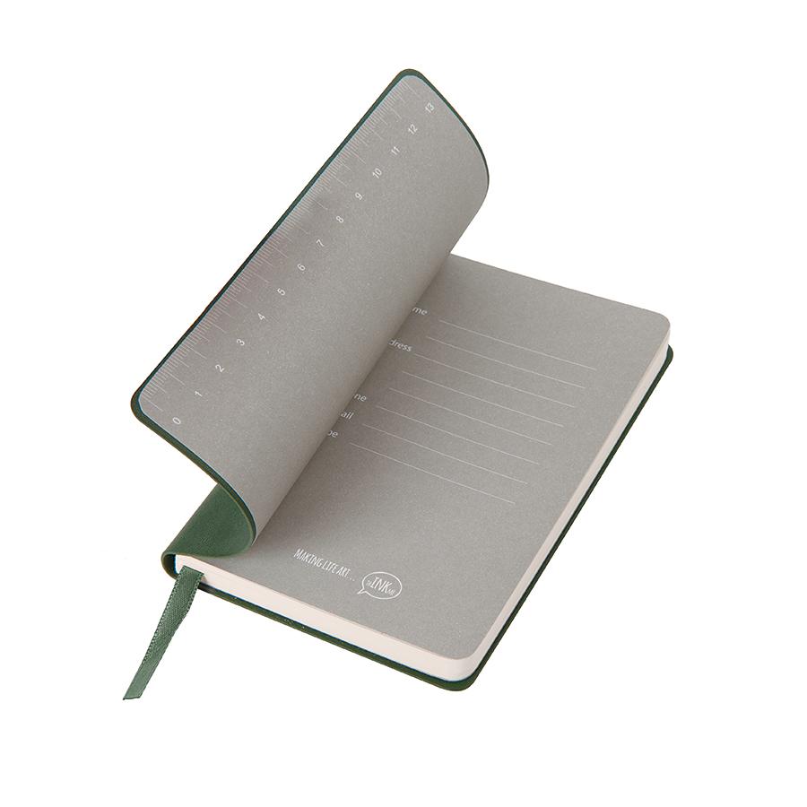"""Бизнес-блокнот """"Funky"""", 90*140 мм, зеленый, серый форзац, мягкая обложка, в клетку"""