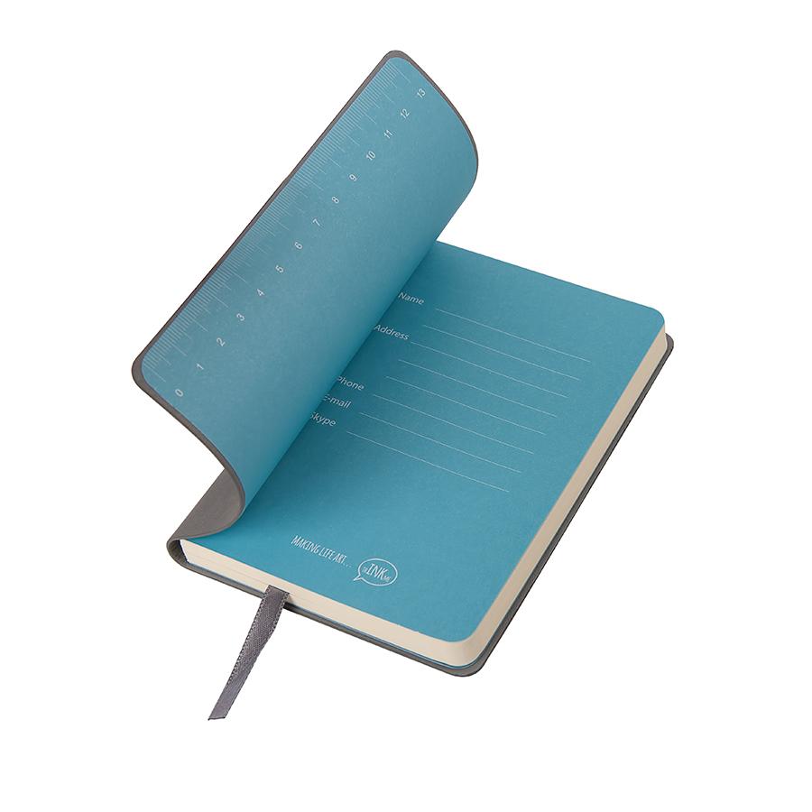 """Бизнес-блокнот """"Funky"""", 90*140 мм, серый, голубой форзац, мягкая обложка, в клетку"""
