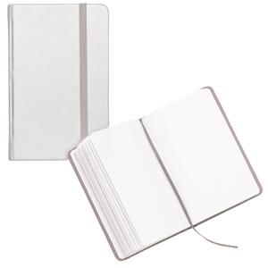 Блокнот для записей;серебристый; 9,5х14,5х1,6 см.; искусственная кожа; шелкография