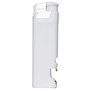 Зажигалка пьезо ISKRA с открывалкой, белая, 8,2х2,5х1,2 см, пластик/тампопечать