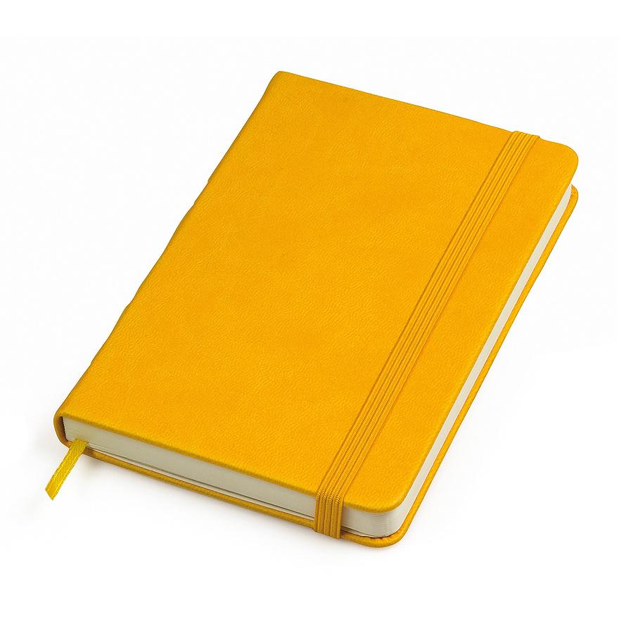 """Бизнес-блокнот """"Casual"""", 115 × 160 мм,  желтый, твердая обложка, резинка 7 мм, блок-клетка"""