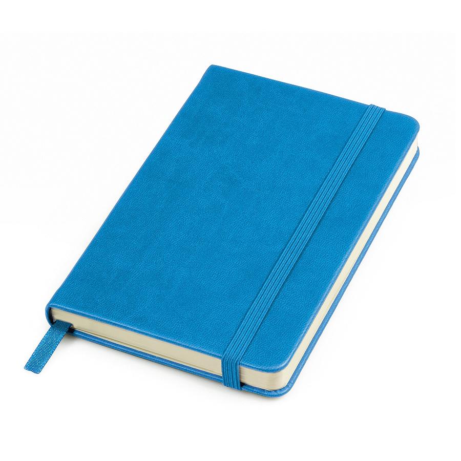 "Бизнес-блокнот ""Casual"", 115 × 160 мм,  голубой, твердая обложка, резинка 7 мм, блок-клетка"