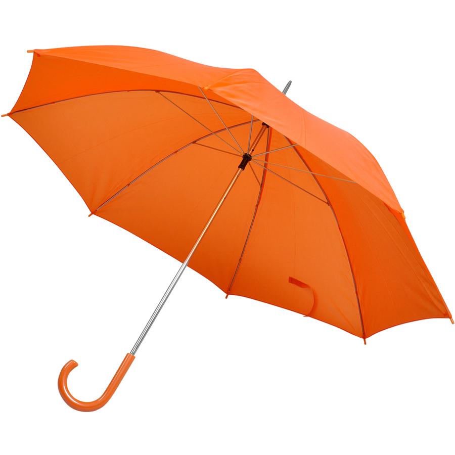 Зонт-трость с пластиковой ручкой, механический; оранжевый; D=103 см; нейлон; шелкография