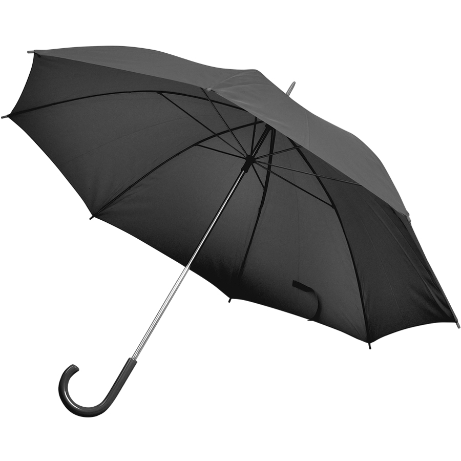 Зонт-трость с пластиковой ручкой, механический; черный; D=103 см; нейлон; шелкография