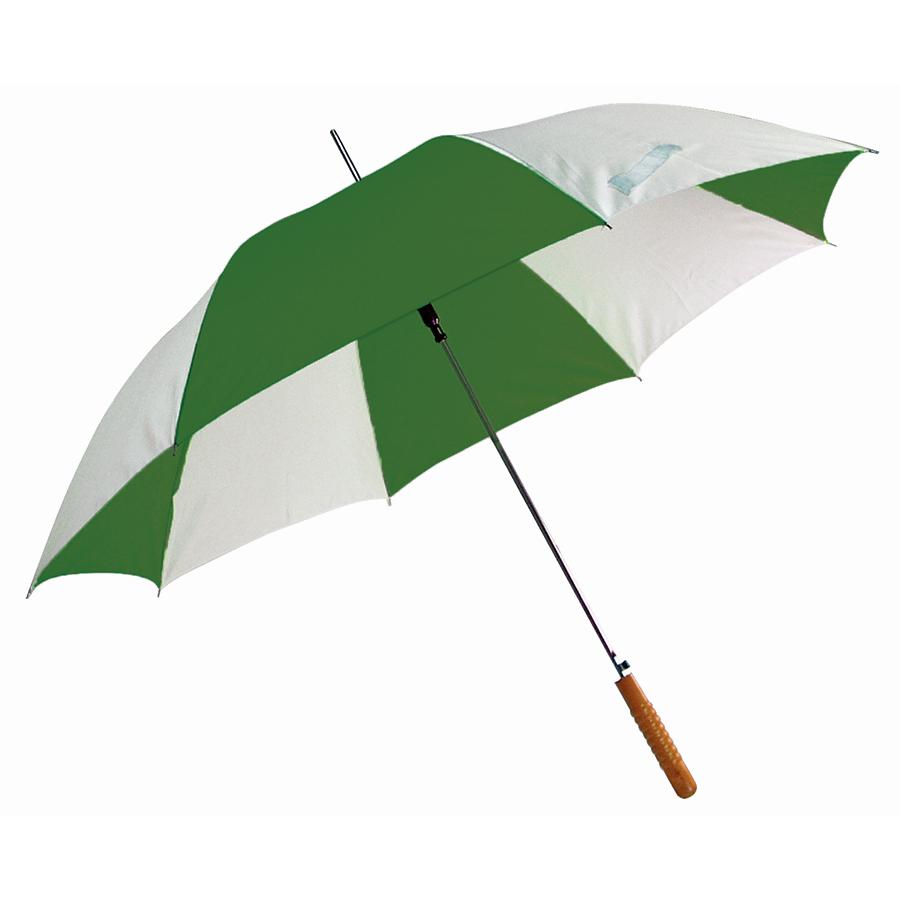 """Зонт-трость """"Joy"""" с деревянной ручкой, полуавтомат; белый с зеленым; D=103 cм; нейлон; шелкография"""