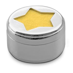 """Свеча """"Звезда""""; D=4,4 см; H=2,6 см; посеребренный металл; лазерная гравировка"""