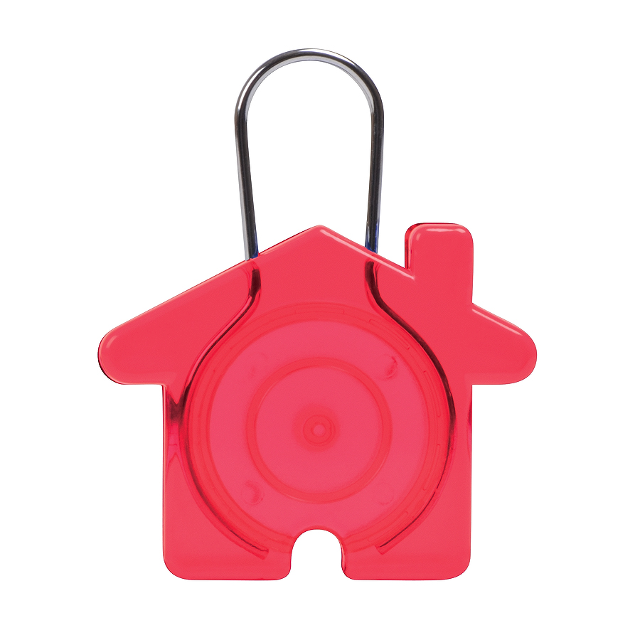 "Брелок ""Дом"",красный, 5,8х4,7х0,9см, пластик, металл"