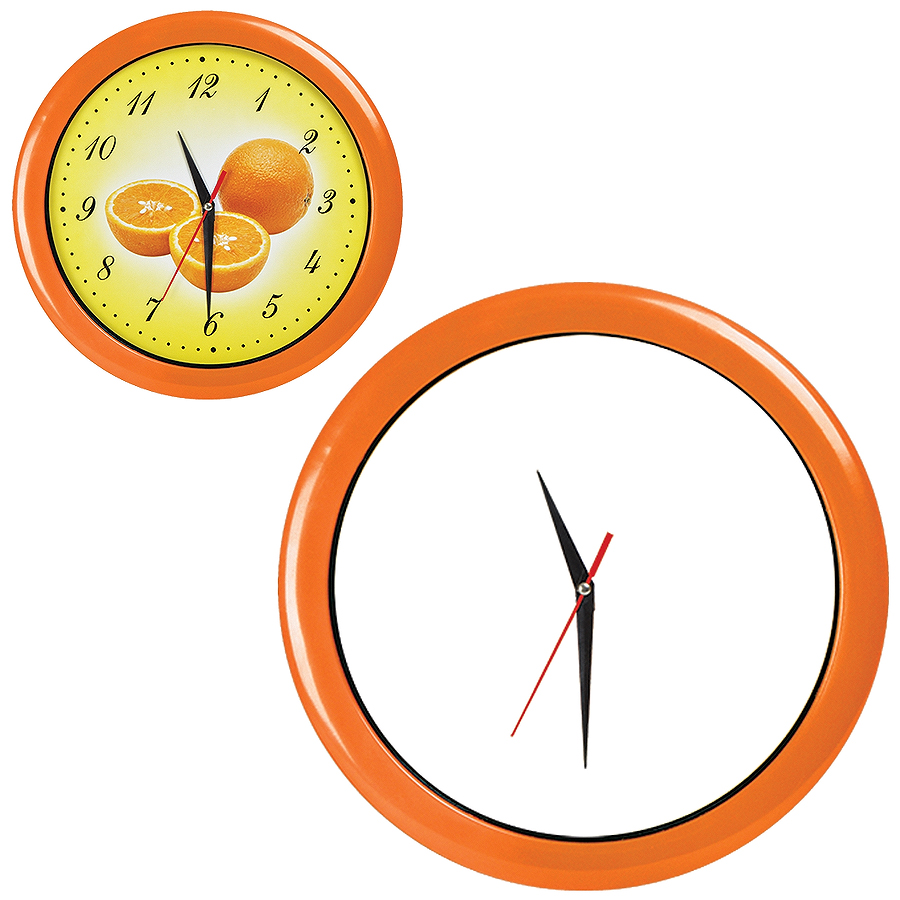 """Часы настенные """"ПРОМО"""" разборные ; оранжевый,  D28,5 см; пластик/стекло"""
