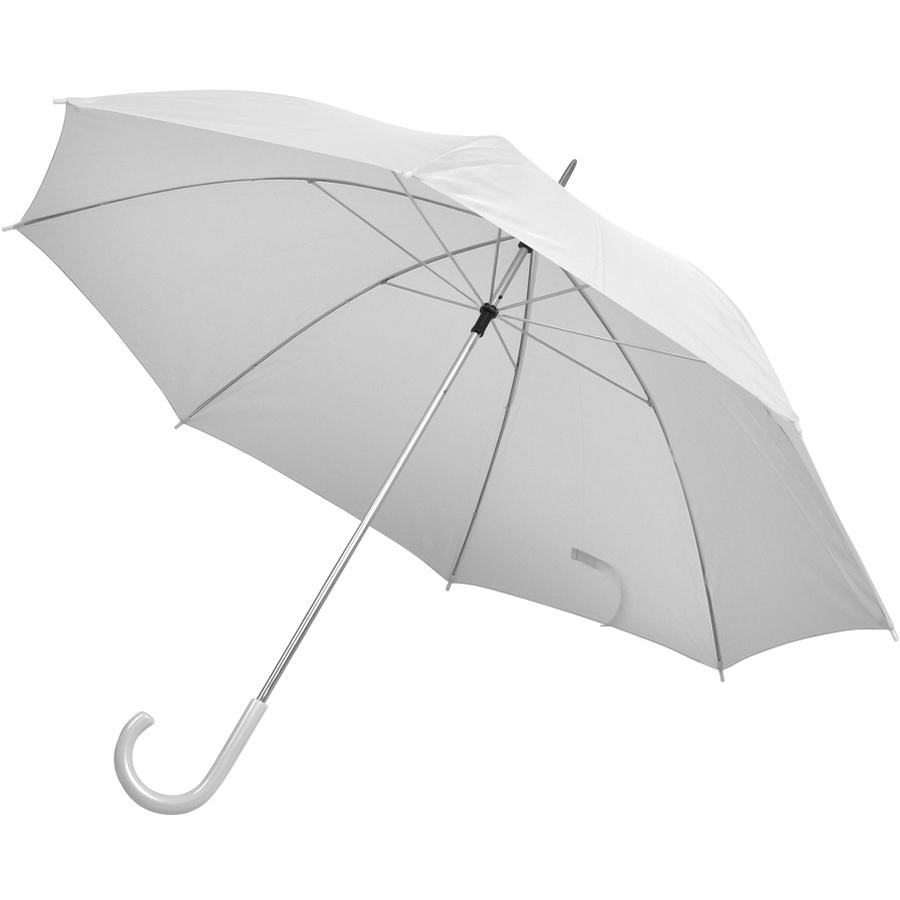 Зонт-трость с пластиковой ручкой, механический; белый; D=103 см; нейлон; шелкография
